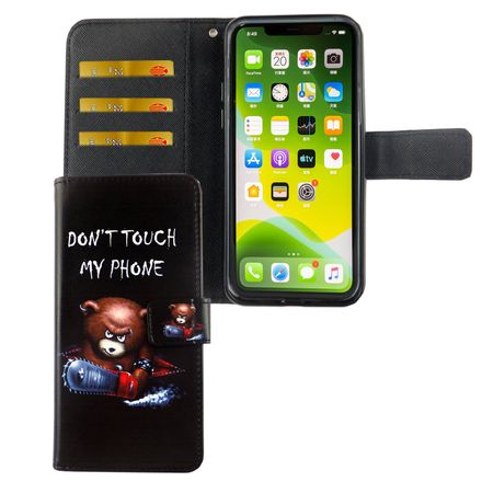 Apple iPhone 11 Pro Max Tasche Handy-Hülle Schutz-Cover Flip-Case mit Kartenfach Don't touch my phone