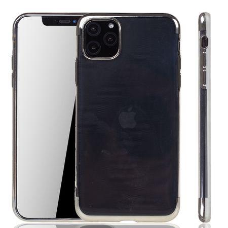 Handyhülle für Apple iPhone 11 Pro Silber - Clear - TPU Silikon Case Backcover Schutzhülle in Transparent / glänzender Rand Silber
