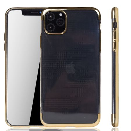 Handyhülle für Apple iPhone 11 Pro Gold - Clear - TPU Silikon Case Backcover Schutzhülle in Transparent / glänzender Rand Gold