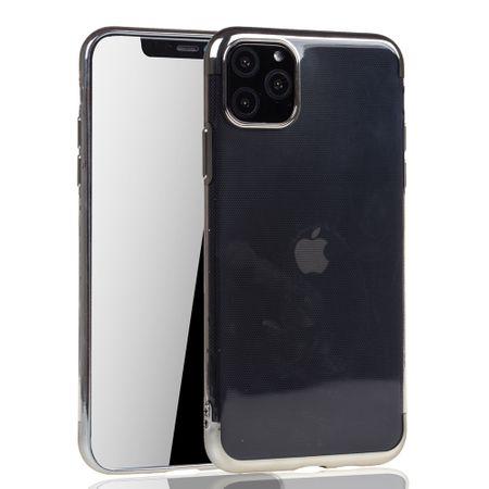 Handyhülle für Apple iPhone 11 Silber - Clear - TPU Silikon Case Backcover Schutzhülle in Transparent / glänzender Rand Silber – Bild 2