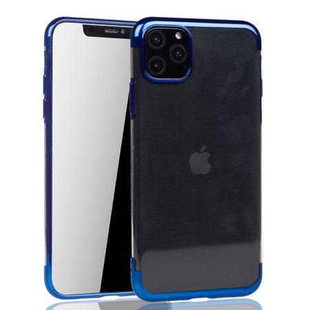 Handyhülle für Apple iPhone 11 Blau - Clear - TPU Silikon Case Backcover Schutzhülle in Transparent / glänzender Rand Blau – Bild 2