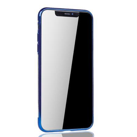 Handyhülle für Apple iPhone 11 Blau - Clear - TPU Silikon Case Backcover Schutzhülle in Transparent / glänzender Rand Blau – Bild 3