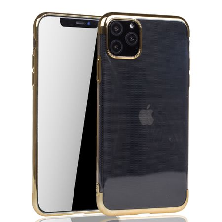 Handyhülle für Apple iPhone 11 Gold - Clear - TPU Silikon Case Backcover Schutzhülle in Transparent / glänzender Rand Gold – Bild 2