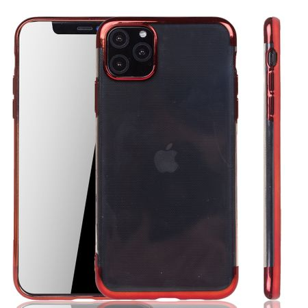 Handyhülle für Apple iPhone 11 Pro Max Rot - Clear - TPU Silikon Case Backcover Schutzhülle in Transparent / glänzender Rand Rot