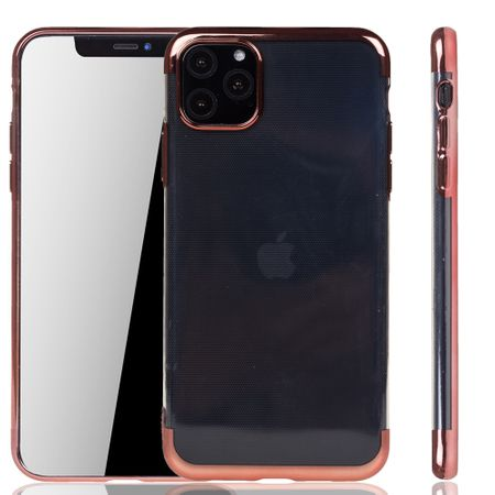 Handyhülle für Apple iPhone 11 Pro Max Rose Pink - Clear - TPU Silikon Case Backcover Schutzhülle in Transparent / glänzender Rand Rose Pink
