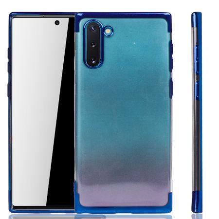 Handyhülle für Samsung Galaxy Note 10 Blau - Clear - TPU Silikon Case Backcover Schutzhülle in Transparent / glänzender Rand Blau