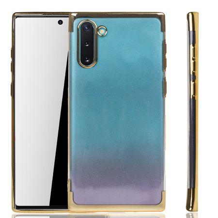 Handyhülle für Samsung Galaxy Note 10 Gold - Clear - TPU Silikon Case Backcover Schutzhülle in Transparent / glänzender Rand Gold