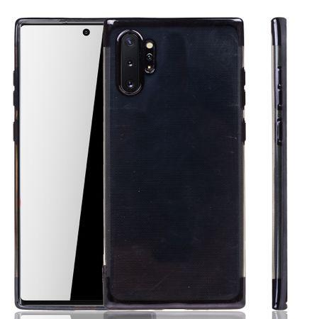 Handyhülle für Samsung Galaxy Note 10 Plus Schwarz - Clear - TPU Silikon Case Backcover Schutzhülle in Transparent / glänzender Rand Schwarz