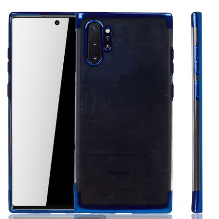 Handyhülle für Samsung Galaxy Note 10 Plus Blau - Clear - TPU Silikon Case Backcover Schutzhülle in Transparent / glänzender Rand Blau