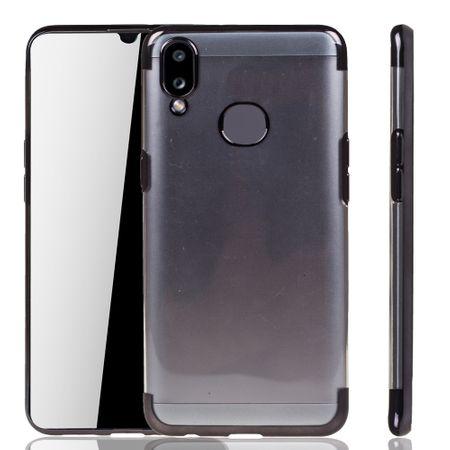Handyhülle für Samsung Galaxy A10s Schwarz - Clear - TPU Silikon Case Backcover Schutzhülle in Transparent / glänzender Rand Schwarz