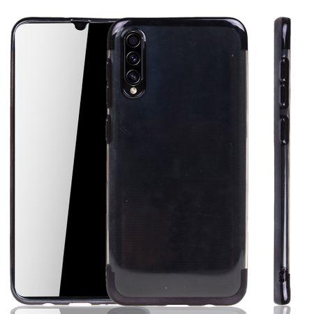 Handyhülle für Samsung Galaxy A50s Schwarz - Clear - TPU Silikon Case Backcover Schutzhülle in Transparent / glänzender Rand Schwarz