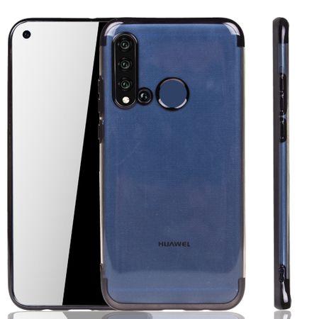 Handyhülle für Huawei P20 Lite 2019 Schwarz - Clear - TPU Silikon Case Backcover Schutzhülle in Transparent / glänzender Rand Schwarz