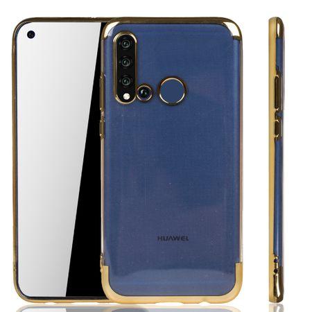 Handyhülle für Huawei P20 Lite 2019 Gold - Clear - TPU Silikon Case Backcover Schutzhülle in Transparent / glänzender Rand Gold