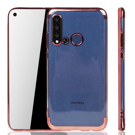 Handyhülle für Huawei P20 Lite 2019 Rose Pink - Clear - TPU Silikon Case Backcover Schutzhülle in Transparent / glänzender Rand Rose Pink