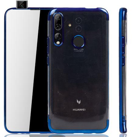 Handyhülle für Huawei Y9 2019 Blau - Clear - TPU Silikon Case Backcover Schutzhülle in Transparent / glänzender Rand Blau