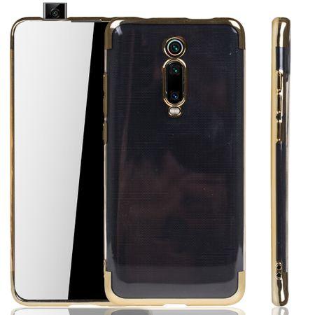 Handyhülle für Xiaomi Mi 9T Gold - Clear - TPU Silikon Case Backcover Schutzhülle in Transparent / glänzender Rand Gold