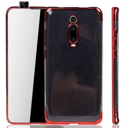 Handyhülle für Xiaomi Mi 9T Rot - Clear - TPU Silikon Case Backcover Schutzhülle in Transparent / glänzender Rand Rot