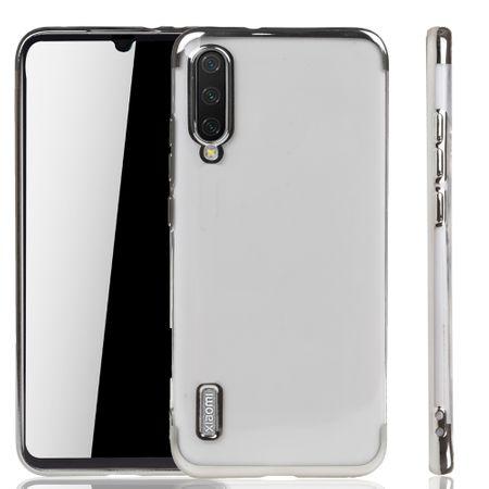 Handyhülle für Xiaomi Mi A3 Silber - Clear - TPU Silikon Case Backcover Schutzhülle in Transparent / glänzender Rand Silber