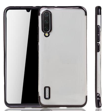 Handyhülle für Xiaomi Mi A3 Schwarz - Clear - TPU Silikon Case Backcover Schutzhülle in Transparent / glänzender Rand Schwarz