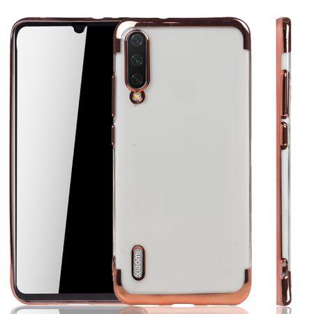Handyhülle für Xiaomi Mi A3 Rose Pink - Clear - TPU Silikon Case Backcover Schutzhülle in Transparent / glänzender Rand Rose Pink