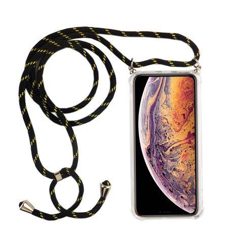 Handykette für Apple iPhone X / XS - Smartphone Necklace Hülle mit Band - Schnur mit Case zum umhängen in Schwarz