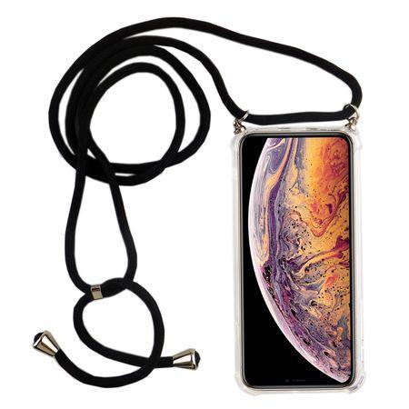 Handykette für Apple iPhone XS Max - Smartphone Necklace Hülle mit Band - Schnur mit Case zum umhängen in Schwarz