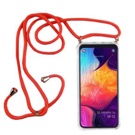 Handykette für Samsung Galaxy A50 - Smartphone Necklace Hülle mit Band - Schnur mit Case zum umhängen in Pink