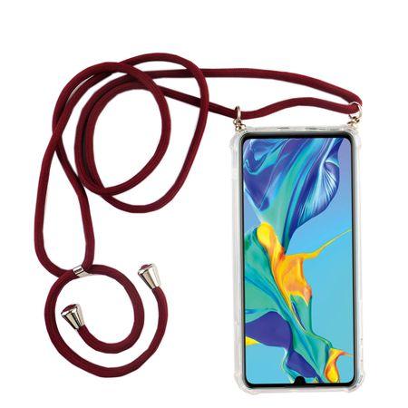 Handykette für Huawei P30 - Smartphone Necklace Hülle mit Band - Schnur mit Case zum umhängen in Rot