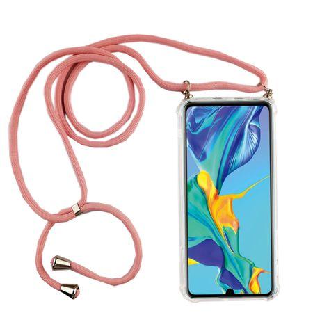 Handykette für Huawei P30 - Smartphone Necklace Hülle mit Band - Schnur mit Case zum umhängen in Rosa