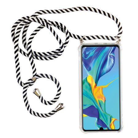 Handykette für Huawei P30 - Smartphone Necklace Hülle mit Band - Schnur mit Case zum umhängen in Schwarz
