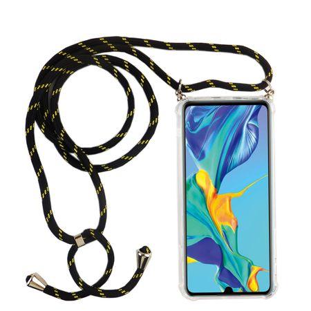 Handykette für Huawei P30 Lite - Smartphone Necklace Hülle mit Band - Schnur mit Case zum umhängen in Schwarz