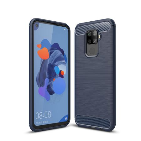 Huawei Mate 30 Lite TPU Case Carbon Fiber Optik Brushed Schutz Hülle Blau