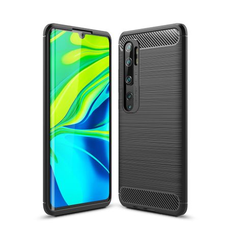 Xiaomi Mi Note 10 TPU Case Carbon Fiber Optik Brushed Schutz Hülle Grau