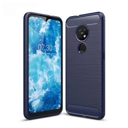 Nokia 6.2 TPU Case Carbon Fiber Optik Brushed Schutz Hülle Blau