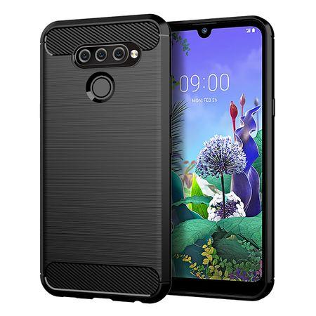 LG Q60 TPU Case Carbon Fiber Optik Brushed Schutz Hülle Schwarz