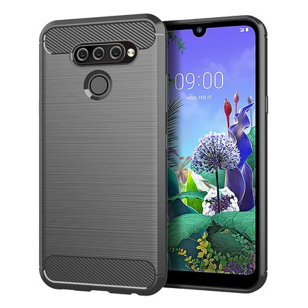 LG Q60 TPU Case Carbon Fiber Optik Brushed Schutz Hülle Grau
