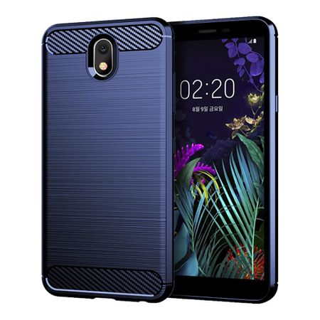 LG K30 2019 TPU Case Carbon Fiber Optik Brushed Schutz Hülle Blau