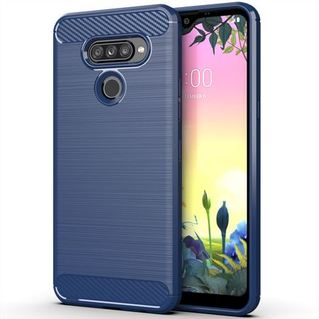 LG K50S TPU Case Carbon Fiber Optik Brushed Schutz Hülle Blau
