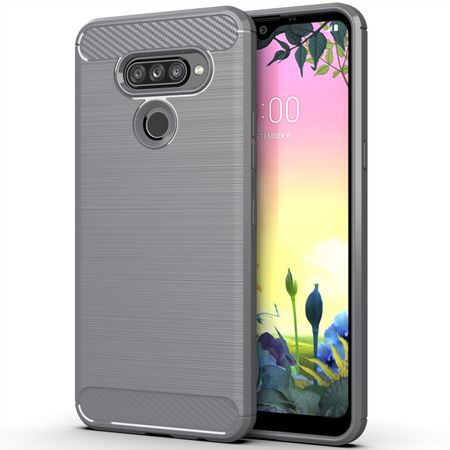 LG K50S TPU Case Carbon Fiber Optik Brushed Schutz Hülle Grau