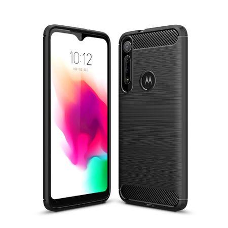 Motorola Moto G8 Play TPU Case Carbon Fiber Optik Brushed Schutz Hülle Grau