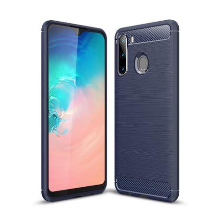 Samsung Galaxy A21TPU Case Carbon Fiber Optik Brushed Schutz HülleBlau