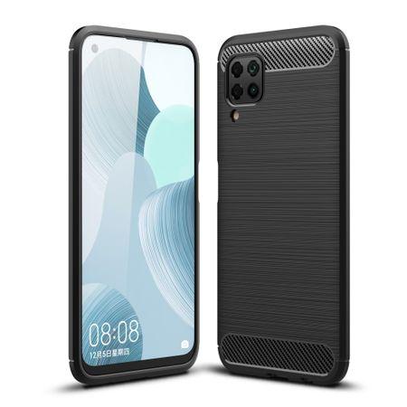 Huawei P40 LiteTPU Case Carbon Fiber Optik Brushed Schutz HülleSchwarz