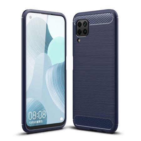 Huawei P40 LiteTPU Case Carbon Fiber Optik Brushed Schutz HülleBlau