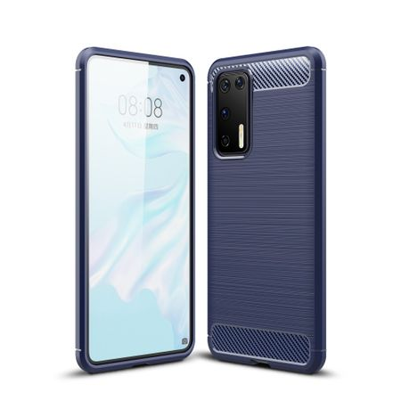 Huawei P40 TPU Case Carbon Fiber Optik Brushed Schutz Hülle Blau