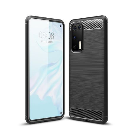 Huawei P40 TPU Case Carbon Fiber Optik Brushed Schutz Hülle Grau