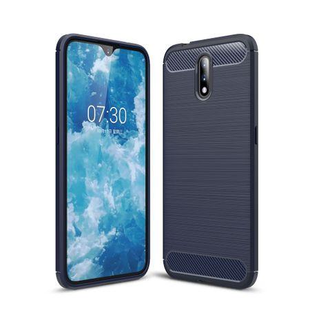 Nokia 2.3TPU Case Carbon Fiber Optik Brushed Schutz HülleBlau