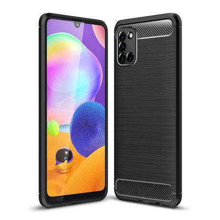 Samsung Galaxy A31 TPU Case Carbon Fiber Optik Brushed Schutz Hülle Schwarz