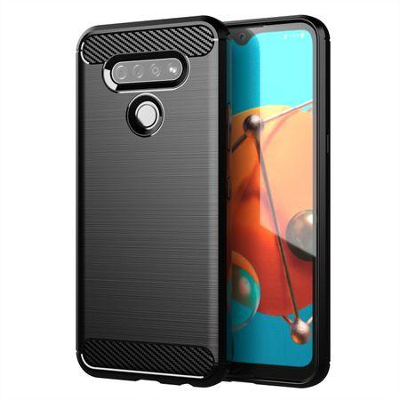 LG K51 TPU Case Carbon Fiber Optik Brushed Schutz Hülle Schwarz