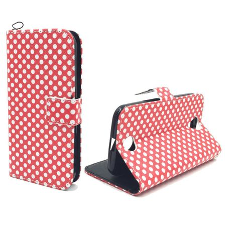 Handyhülle Tasche + 1 Panzer Schutz Glas für Handy Samsung Galaxy J1 Polka Dot Rot
