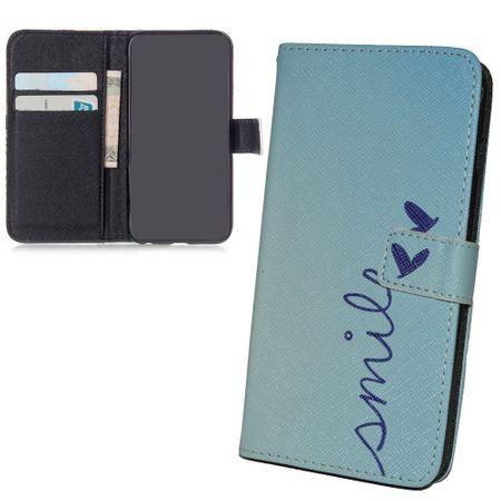 Handyhülle Tasche + 1 Panzer Schutz Glas für Handy Samsung Galaxy S6  Schriftzug Smile Blau